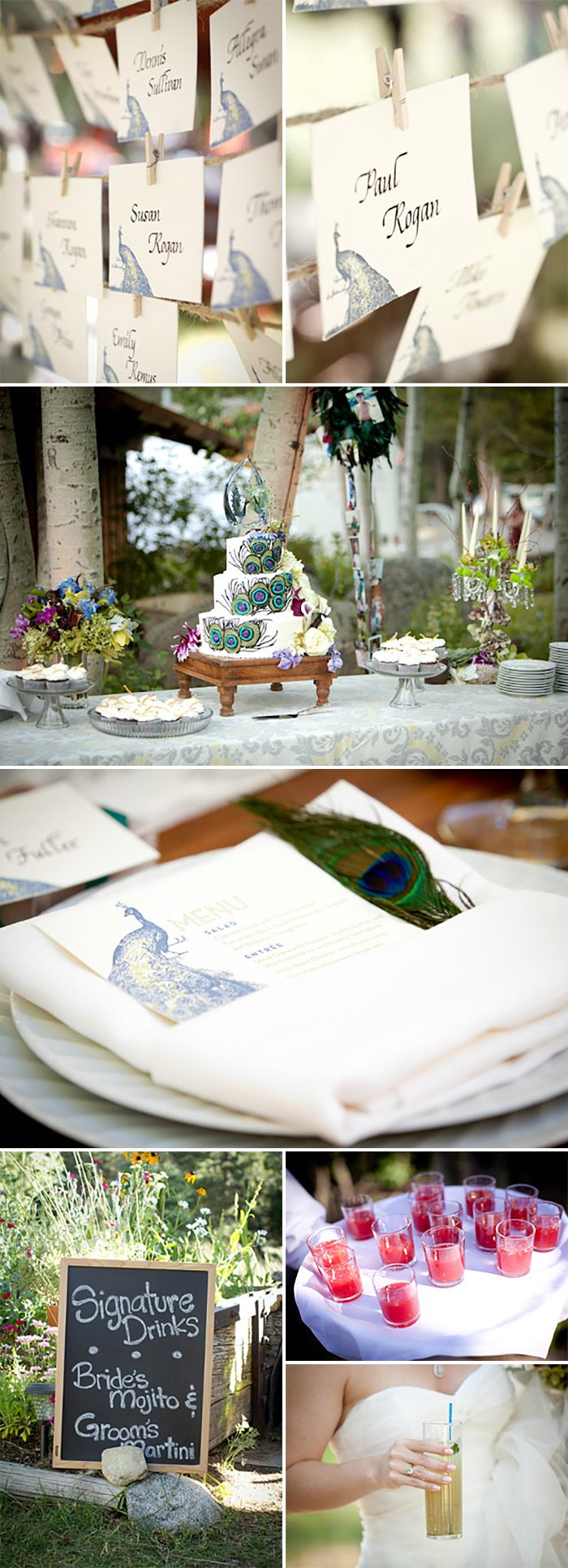 A Vintage Garden Party Wedding with letterpress peacock stationery