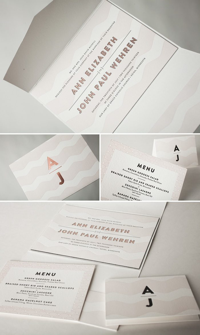 Beautiful Letterpress and foil stamped Viceroy pocketfold by Bella Figura