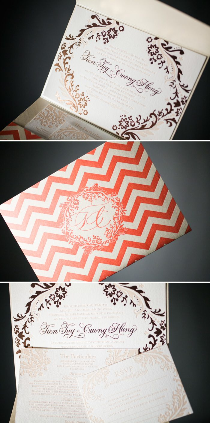 Beautiful chevron printed pocketfold by Bella Figura