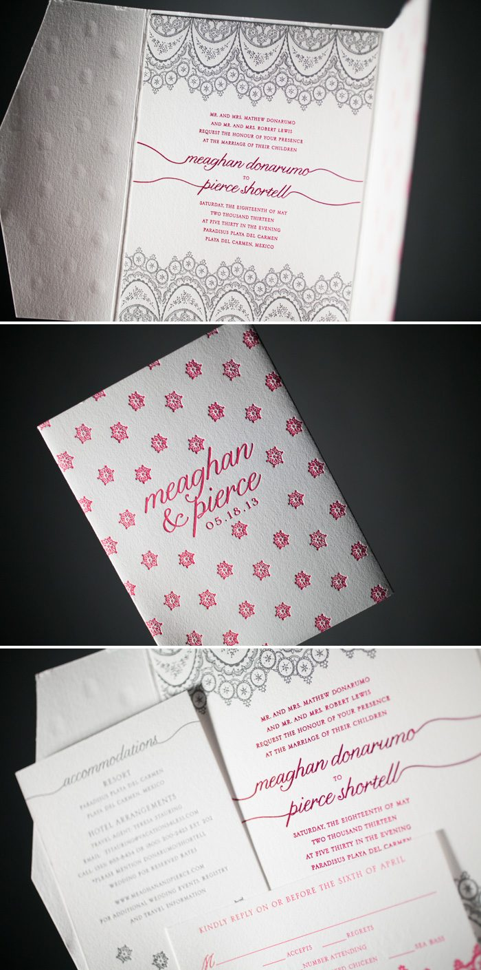 Destination wedding invitations with letterpress printed pocketfolds by Bella Figura