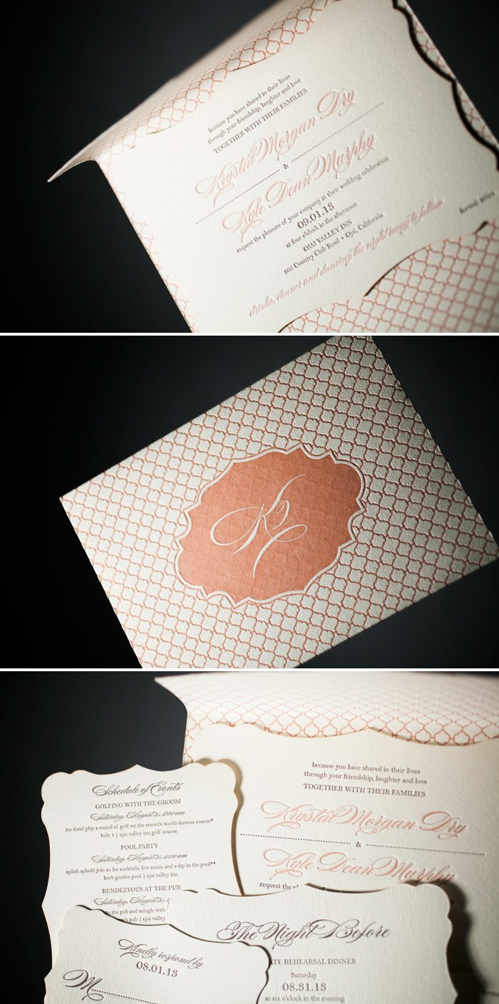 Charlotte letterpress wedding invitations by Bella Figura