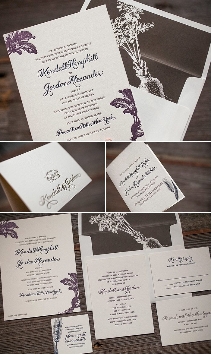 Custom letterpress wedding invitation suite with vintage motifs