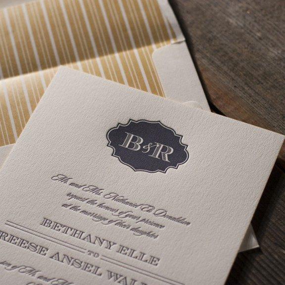addison vintage  monogram wedding invitations from bella figura