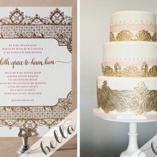 Ornate gold foil and soft pink letterpress wedding invitations