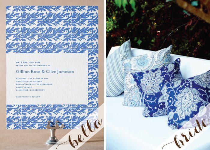 Gorgeous patterned letterpress wedding invitations by Bella Figura