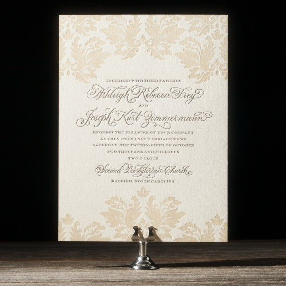 damask wedding invitations from bella figura - Damask Wedding Invitations