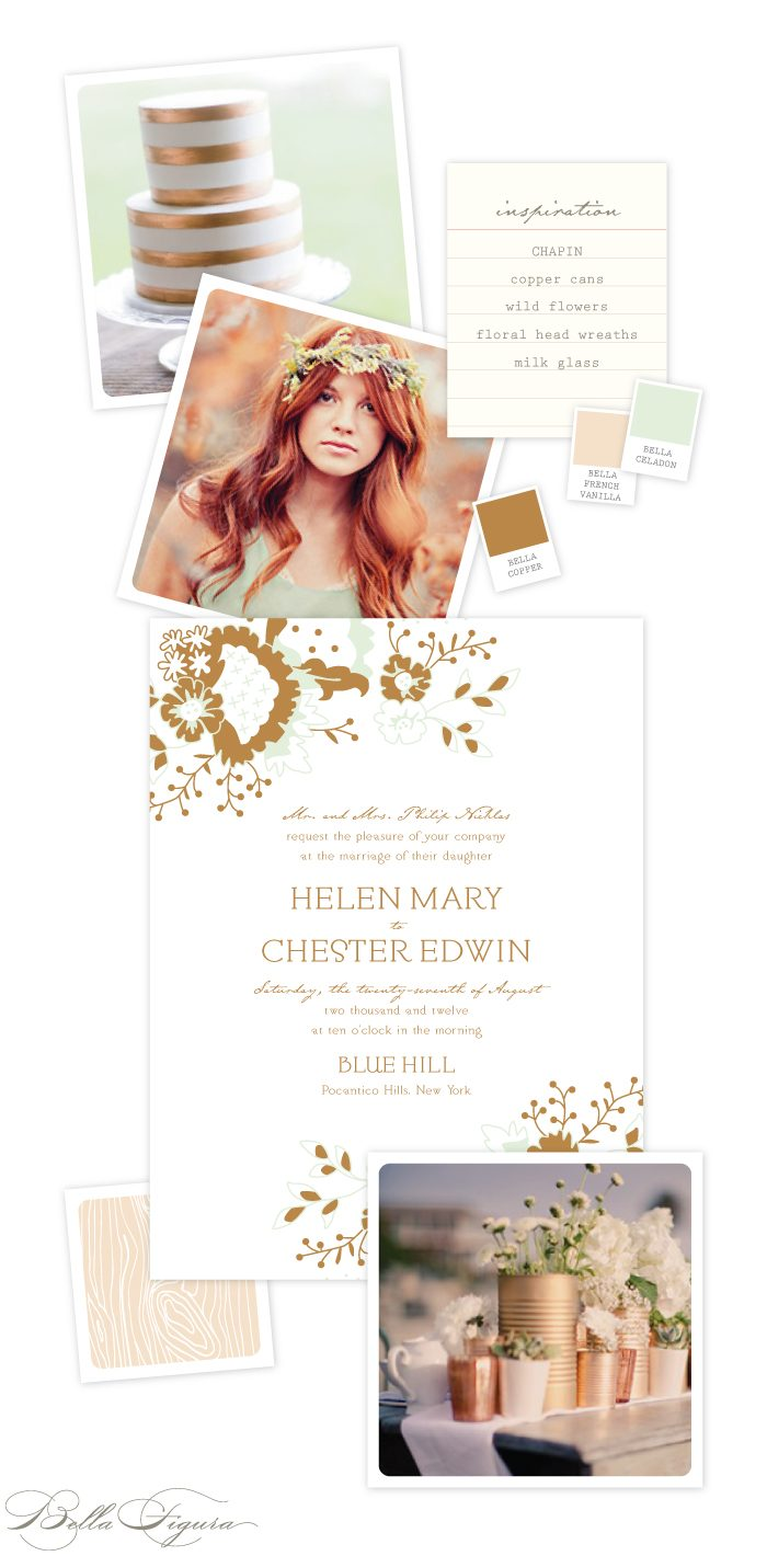 Be inspired by Bella Figura's romantic wedding invitations printed in copper and celadon