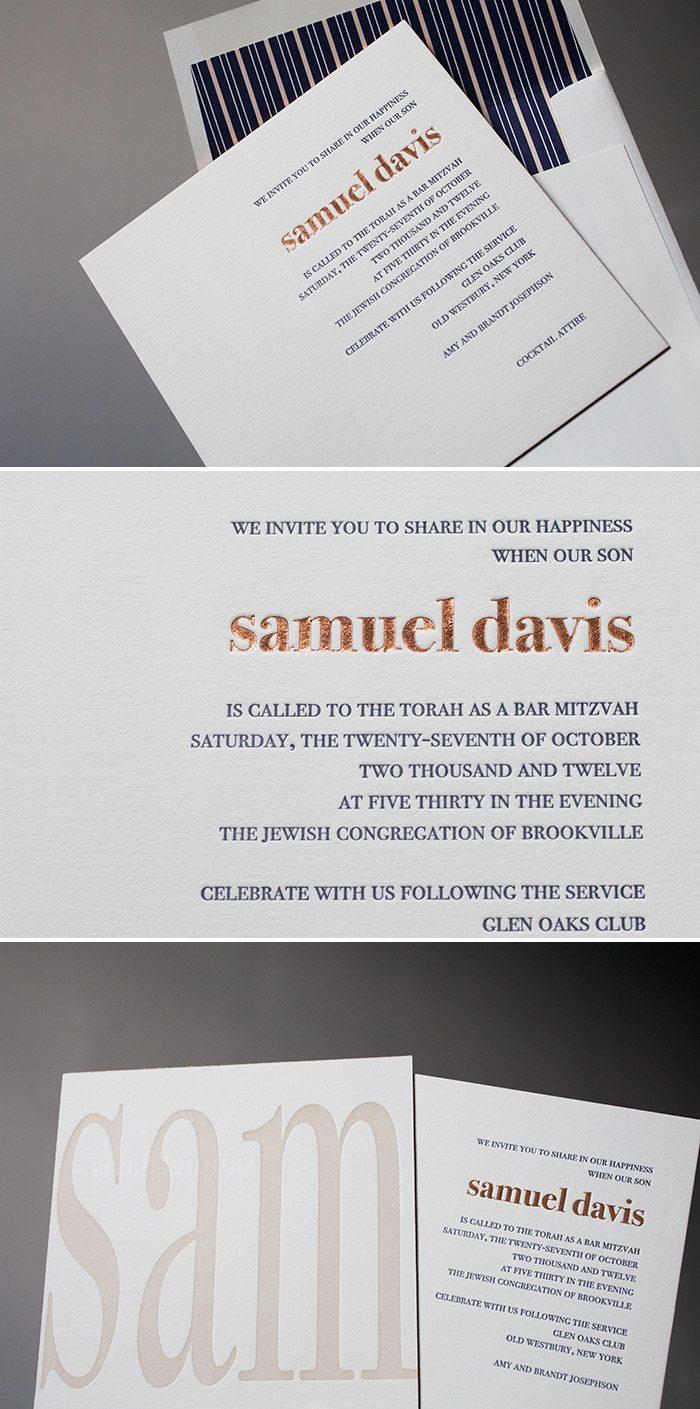 Custom Bar Mitzvah invitations from Bella Figura