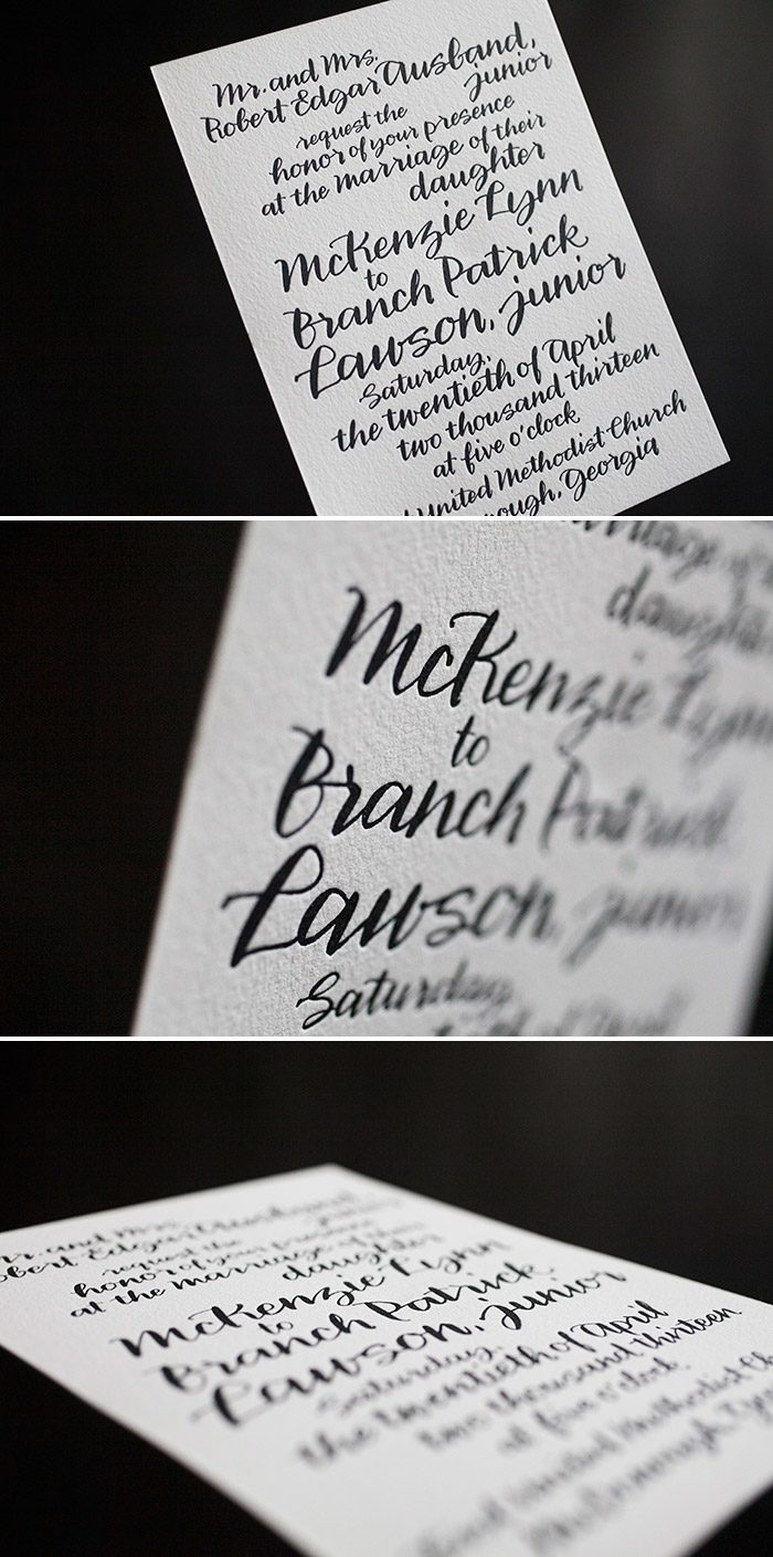 Balsam Calligraphy wedding invitation by Bella Figura