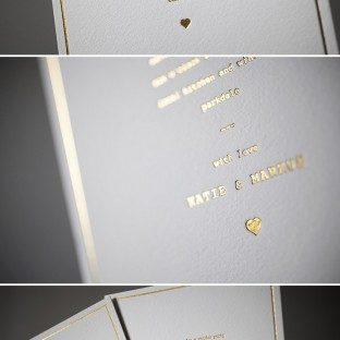 Dazzling in Gold Shine foil: Vintage Librarie wedding invitations by Bella Figura