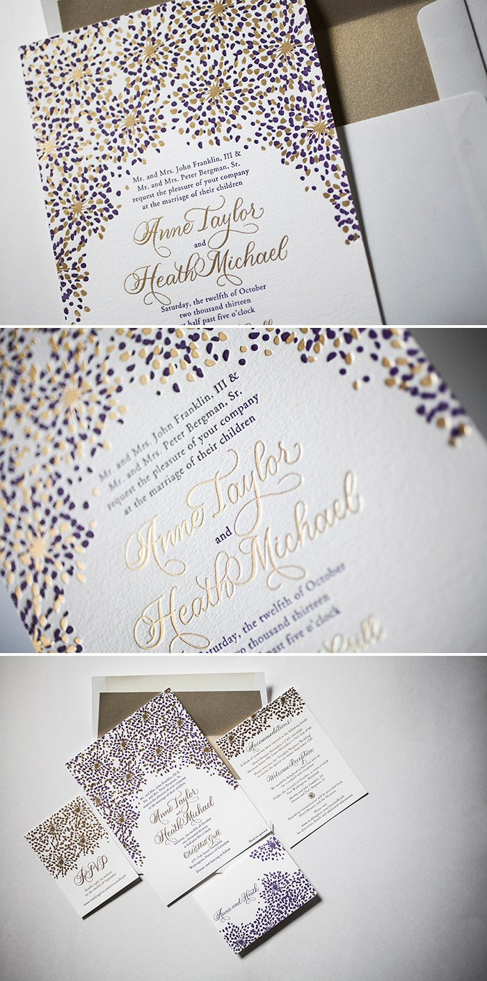 Modern Fete wedding invitations in Gold Matte foil by Bella Figura