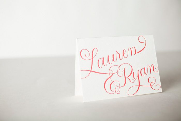 Letterpress Calligraphy Thank You Cards by Bella Figura