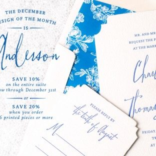 Bella Figura's letterpress invitation Anderson is on sale through December 31, 2013