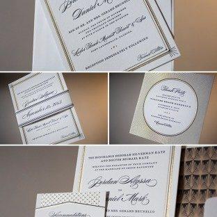 Vintage with a modern twist: Odeon letterpress wedding invitations
