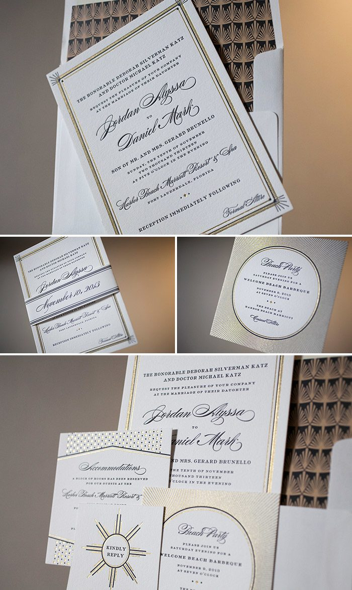 Vintage with a modern twist: Odeon letterpress wedding invitations