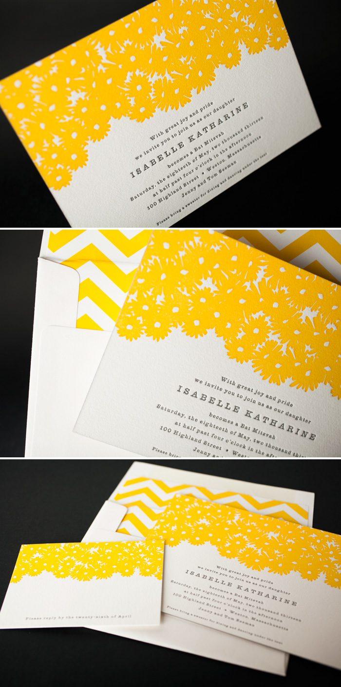 Sweet Daisy Bat Mitzvah invitations by Bella Figura