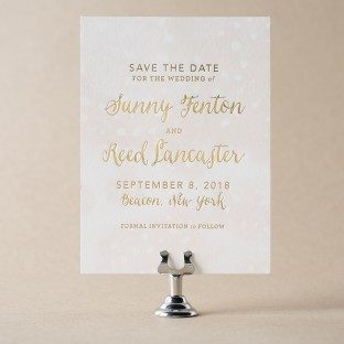 Astoria gold foil + digitally printed save the dates from Bella Figura