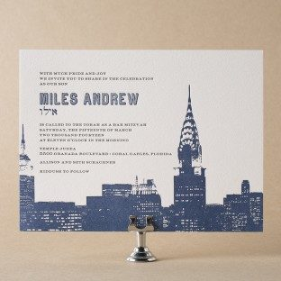 Charmed New York letterpress Bar Mitzvah Invitations from Bella Figura