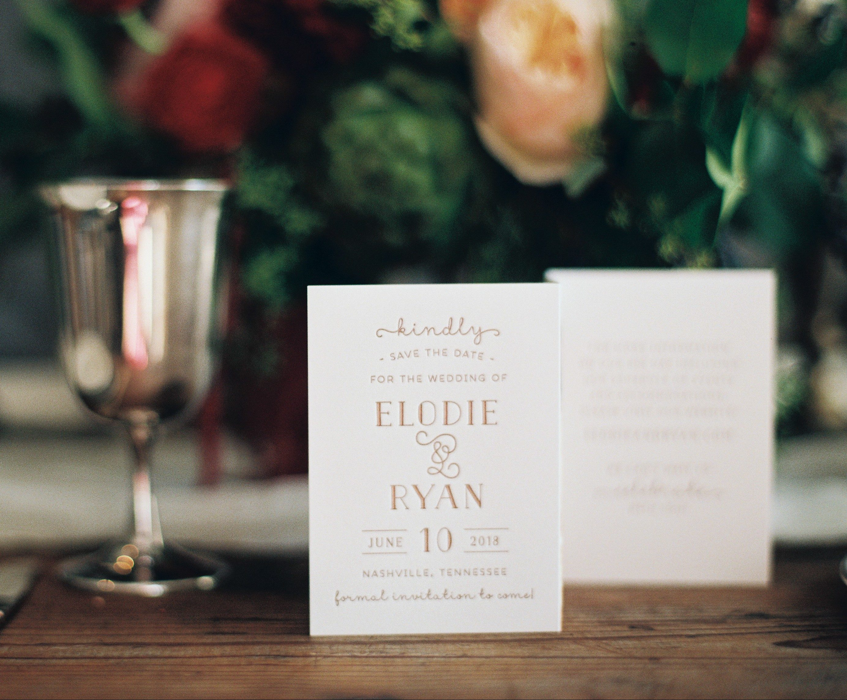 Letterpress + foil stamped save the dates from Bella Figura