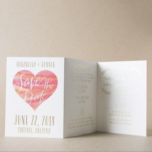 Blush tri-fold save the dates from Bella Figura