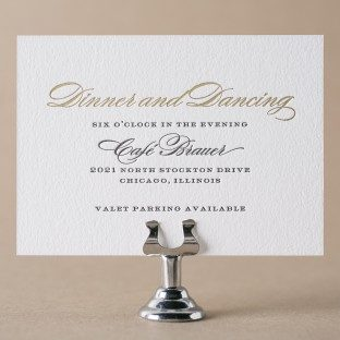 Deveril gold foil + black letterpress reception cards from Bella Figura