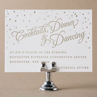 Gilded Romance gold foil stamped reception cards from Bella Figura