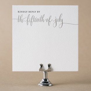 Colette letterpress + foil stamped reply card with hand calligraphy accents from Bella Figura