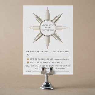 Odeon art deco reply cards with black letterpress ink + gold shine foil