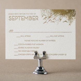 Peacock Full gold foil reply card with menu options from Bella Figura