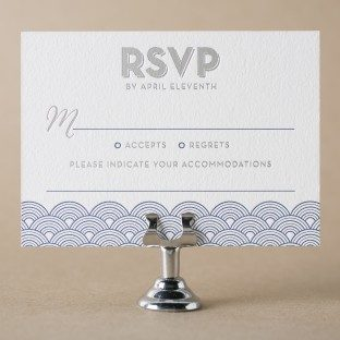 Viceroy navy letterpress + silver foil stamped reply cards with accommodations information from Bella Figura