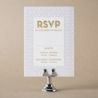Lavender + gold foil Viceroy reply cards from Bella Figura