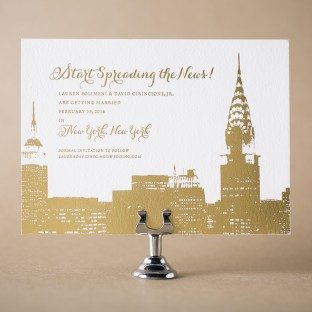 Gold foil stamped Charmed New York save the dates from Bella Figura
