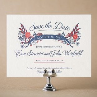 Folk Floral letterpress save the dates from Bella Figura