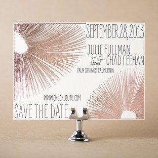 Glamorous Blooms letterpress + foil stamped save the dates from Bella Figura