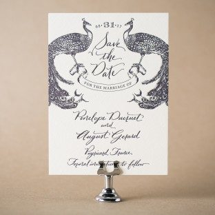 Laurent letterpress save the dates from Bella Figura with hand calligraphy accents by Nicole Black