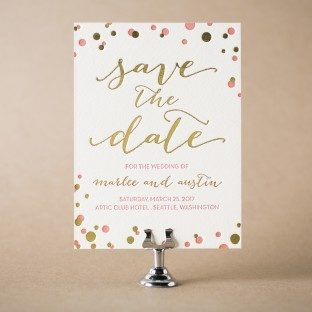 Modern Revelry letterpress + foil stamped save the dates from Bella Figura