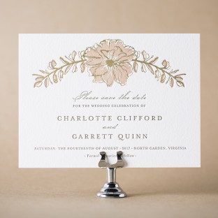 Seraphina letterpress + foil stamped save the dates from Bella Figura