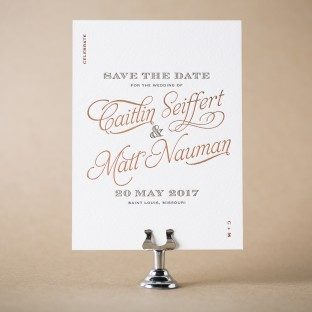 Serendipity letterpress + foil stamped save the dates from Bella Figura