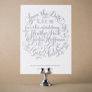 Simple Charms letterpress save the dates with hand calligraphy accents by Debi Zeinert from Bella Figura