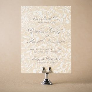 Sweet Grace letterpress + foil stamped save the dates from Bella Figura
