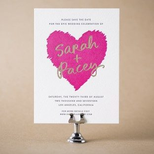 Urbanic letterpress + foil stamped save the dates from Bella Figura
