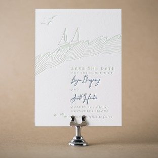 Waterfront letterpress save the dates from Bella Figura
