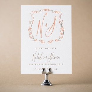Wreath Crest letterpress save the dates from Bella Figura