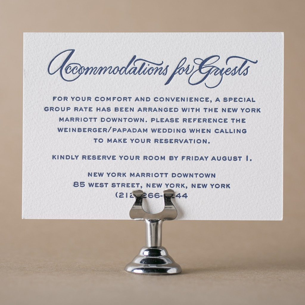 Letterpress direction and accommodation cards from bella figura why send a direction or accommodations filmwisefo Choice Image