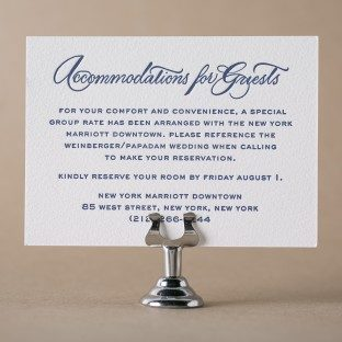 Callaway calligraphy accommodations card by Bella Figura