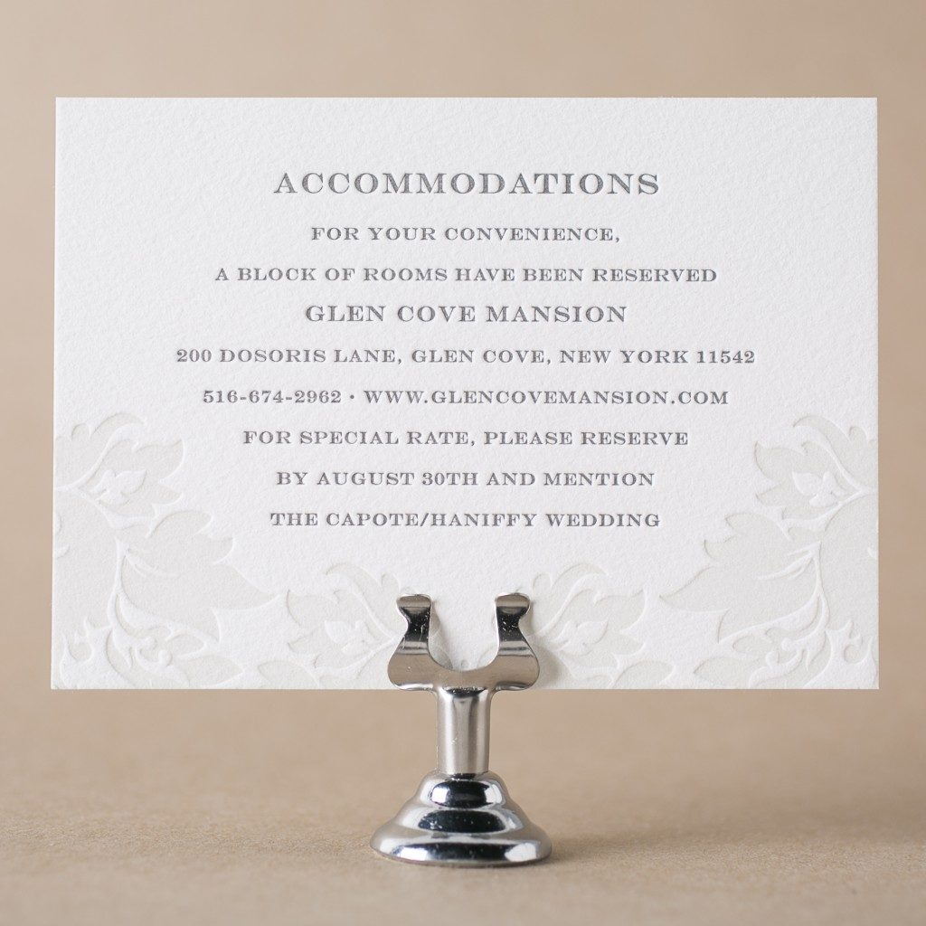 Letterpress direction and accommodation cards from Bella ...
