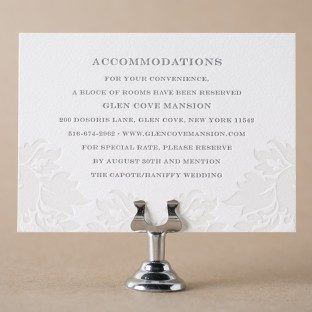 Damask letterpress accommodations card from Bella Figura