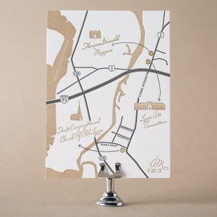 Florian Script letterpress map card