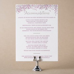 Joie de Vivre letterpress + foil stamped accommodations card from Bella Figura