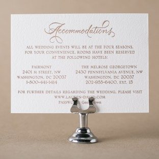 New Calligraphy rose gold foil stamped accommodations card from Bella Figura